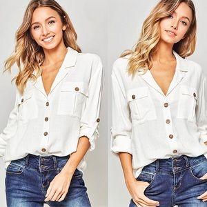 NEW! Button-Down Pocket Shirt, White